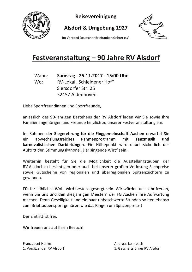 RV Alsdorf - 90 Jahre - Internet-Taubenschlag Diskussions Forum